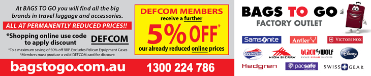 5% OFF* at Bags to Go's already reduced online prices for DEFCOM members