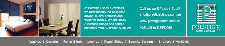 Prestige Blinds & Awnings offer 10% off to DEFCOM members