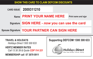 Personalise the reverse side of your DEFCOM card immediately and then start shopping